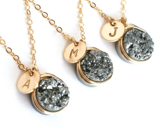 I so want a gold one of these with an L on it :) Etsy-WrennJewelryWedding Silver Druzy Personalized Initial Necklaces Wedding Bridesmaid Gifts