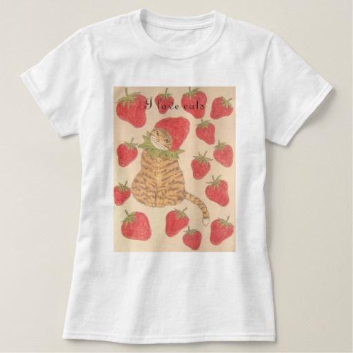 I love cats【いちごと猫ちゃん】 レディースベーシックTシャツ Tee シャツ