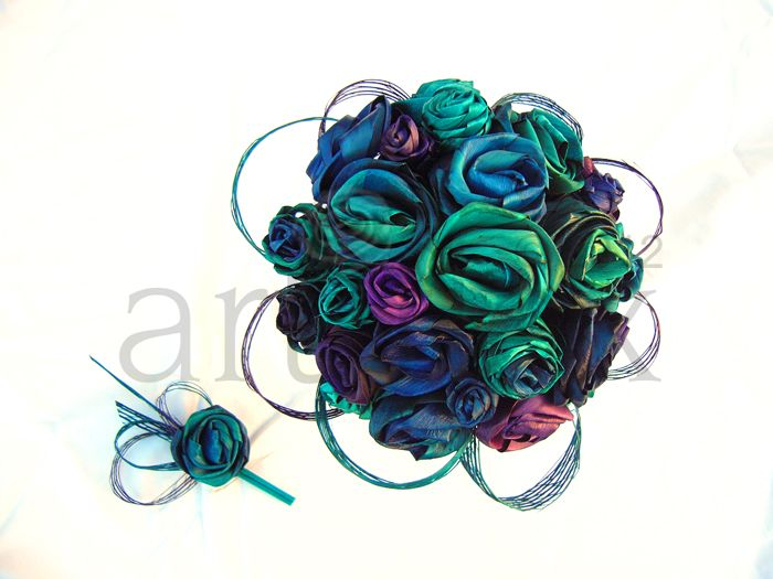 Artiflax - Flax Flowers - Paua coloured flax flower wedding bouquet and buttonhole