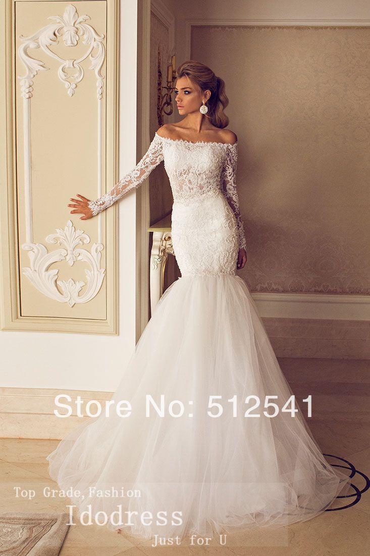 Elegantn off shoulder trumpet mermaid wedding dress dlh m for Wedding dresses for brides over 65