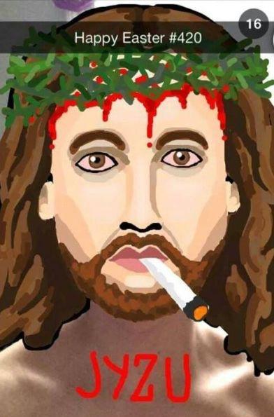 Snapchat drawing Jesus #420 ahah