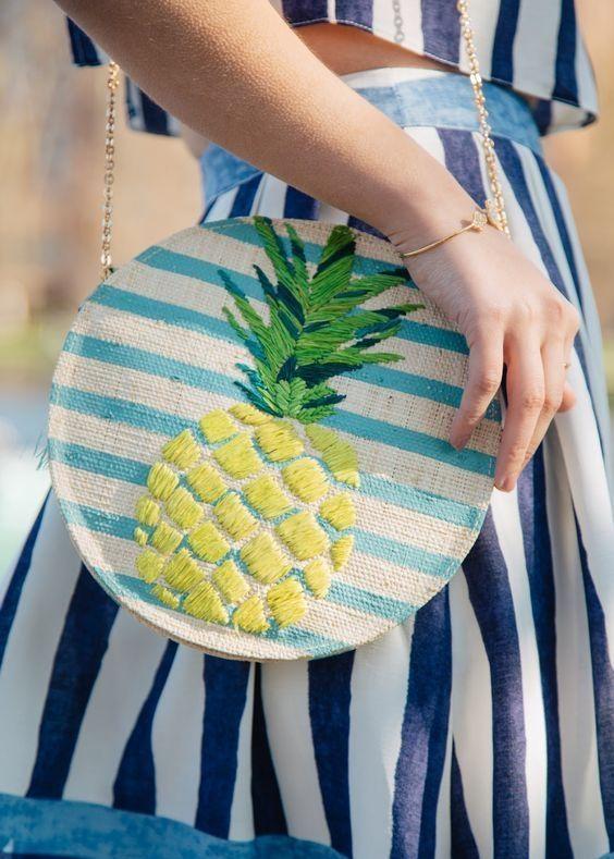 bolsa estmapa abacaxi bordado customização