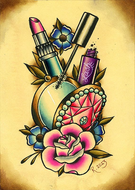 "5""x7"" Makeup and Flowers Fine Art Giclee Print. Love #girly #tattoo/ #tattoos, follow @cutephonecases"