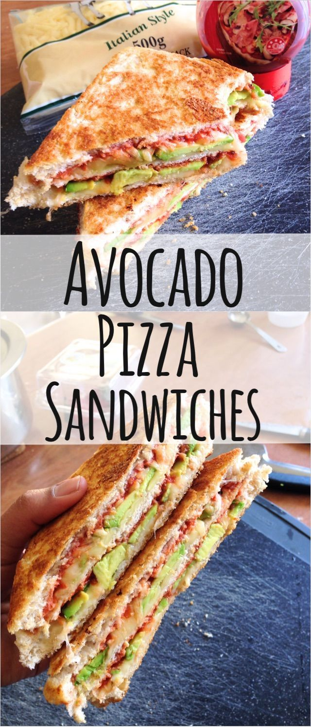 :) These Healthy, Gooey Cheesy Avocado Pizza Sandwiches are quick and easy to make and are perfect comfort foods! | Más en https://lomejordelaweb.es