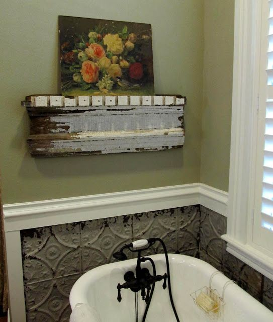 My Romantic Prairie Home. Nicely done....walls, tub, architectural salvage