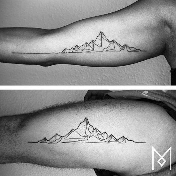 Mountain - Mo Ganji - single line tattoo   tatuajes | Spanish tatuajes  |tatuajes para mujeres | tatuajes para hombres  | diseños de tatuajes http://amzn.to/28PQlav