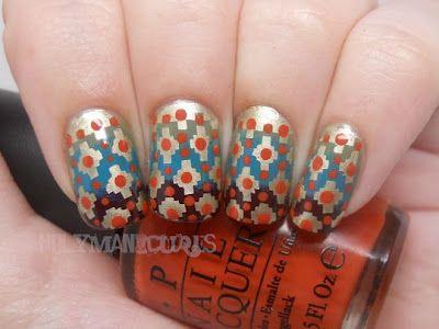 Fall Aztec Nails.