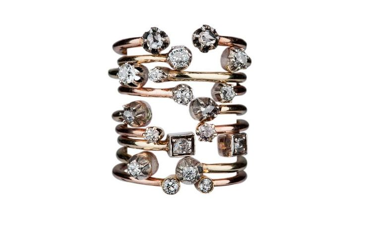 Stacking rings in rose gold and diamond, from a selection, Annina Vogel