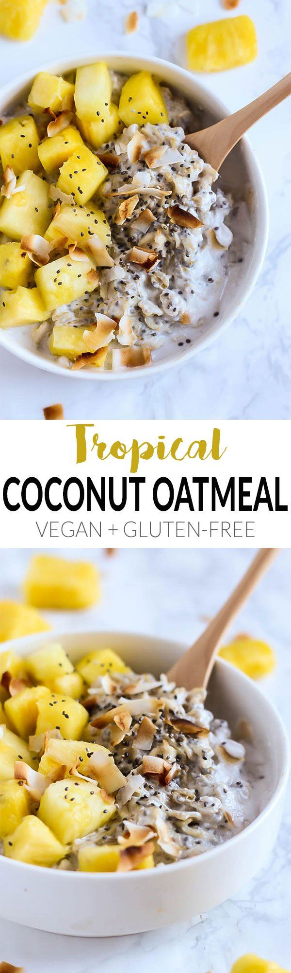 This creamy Tropical Coconut Oatmeal is like the beach in a bowl! Topped with juicy pineapple, it's the perfect vegan & gluten-free breakfast for everyone. All clean eating ingredients are used for this healthy breakfast recipe. Pin now to make later!