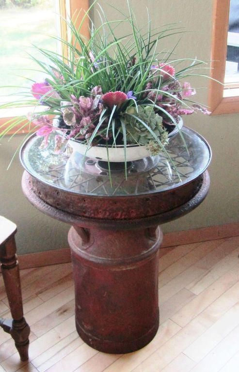 s 11 charming things you can do with an old milk can, crafts, Combine Elements and Make a Side Table
