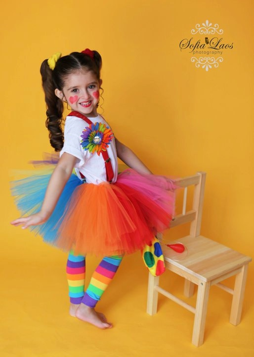 girls clown tutu set 5 pieces  leg warmers tie dye rainbow flower clip available in 12 months - 6