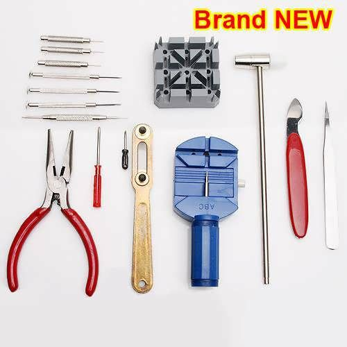 Tools including: Watch case opener Plier Spring bar tool & link pin punch Screwdriver x 5 (flat/ philips) Watch case opening knife Fine nosed tweesers Double headed hammer nylon/ steel Linkremoval tool Soft work pad Weight: 355 g Package included: 1 x Repair tools kit for watch...