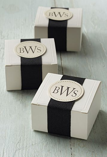 Personalized party boxes Love the black and white for any kind of gift. Maybe wedding day gift for Chris? Is that a thing??