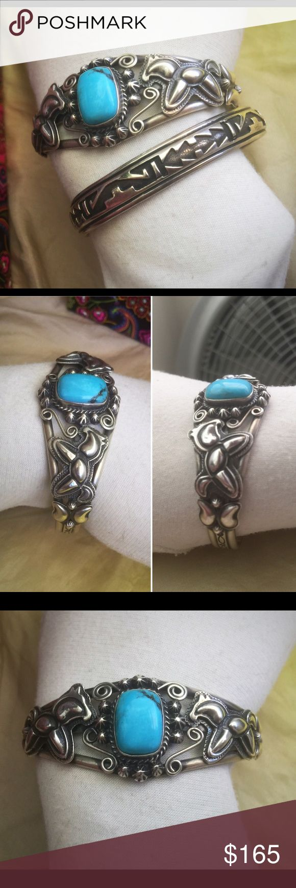 """Vtg RB Sterling Turquoise Native American Bracelet This is just an awesomely designed Southwestern/Native American style cuff bracelet by Running Bear - Ornately designed from front to back - Bezel set turquoise with unique 3D carved horses on either side - Again, a great piece to wear or collect -  It is approximately 5-7/8"""" inner circumference with a 1"""" opening —A nice weight at approximately 24.3 grams - It is in very good vintage pre-owned and pre-loved condition, however could be…"""