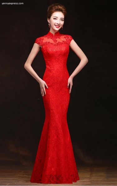 Lace & Mesh Chinese Wedding Qipao Red Gown - YannyExpress