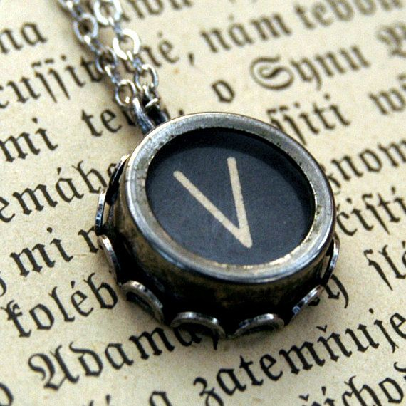 Typewriter Key Necklace Letter V by ragtrader on Etsy, $24.00
