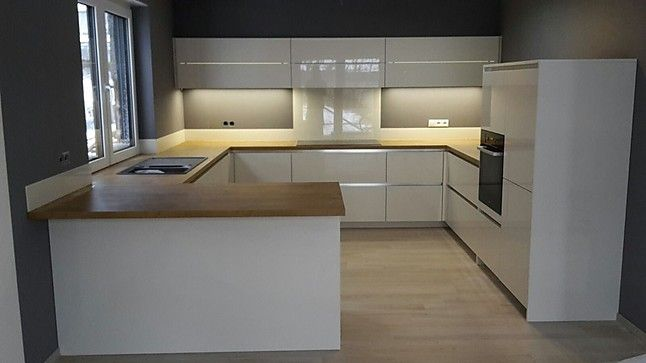 Kitchen - I like the counter layout, the floating shelves along - küche modern weiss