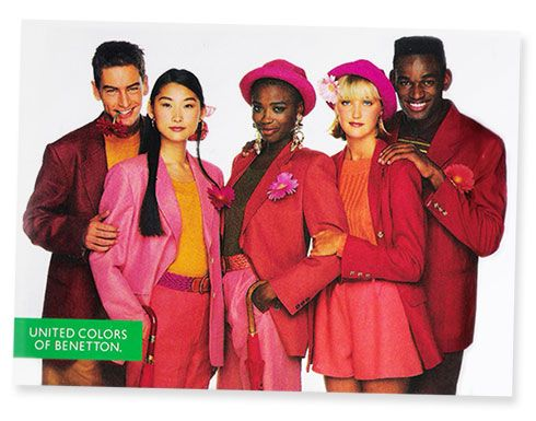 dark red, orange, and pink in the 80s! (United Colors of Benneton)