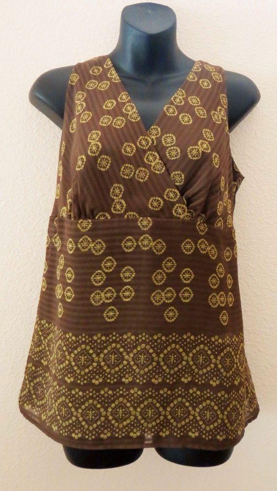 Anne Taylor Loft - Brown & gold color - formed at bust - V neck blouse - Size 8 #AnnTaylorLOFT #TankCami #Career