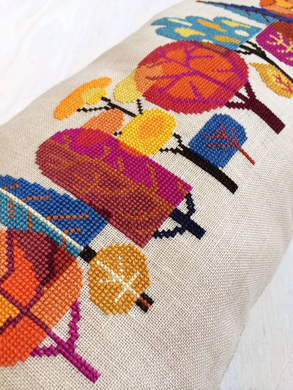 Cozy up to my fall-inspired design of modern trees in this colorful cross stitch pattern! It looks great stitched on a pillow, and would be equally