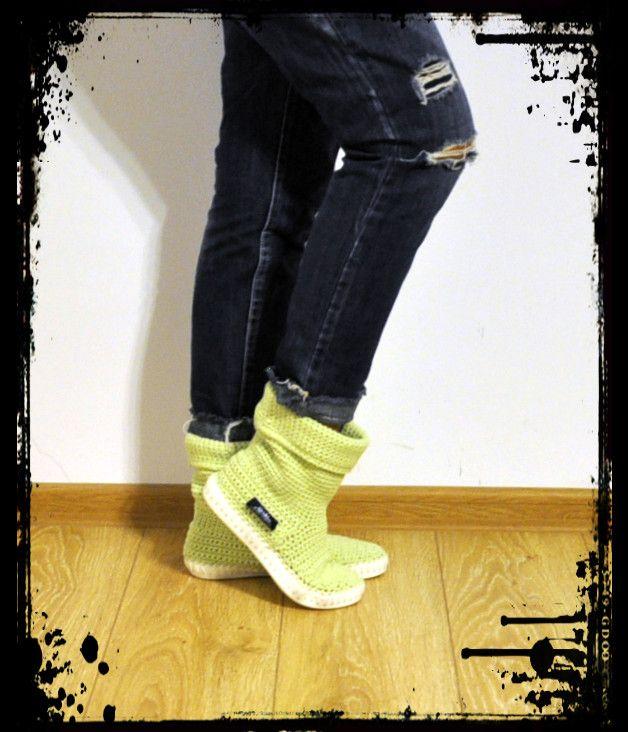 Christmas Women's Clothes – Crochet boots 65% cotton 35% acri UKI-VERT – a unique product by uki-boots on DaWanda