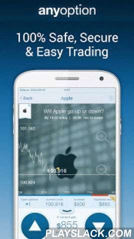 Binary Options - Anyoption  Android App - playslack.com ,  Trade binary options on the go, straight from your Android with anyoption's binary option mobile trading app. With our regulated and advanced binary option trading platform, we provide everything you need to trade successfully and maximize your return per trade! with anyoption trading is easy, anyone can learn how to trade and create potential profit regardless of prior knowledge or experience.anyoption is the pioneering and market…