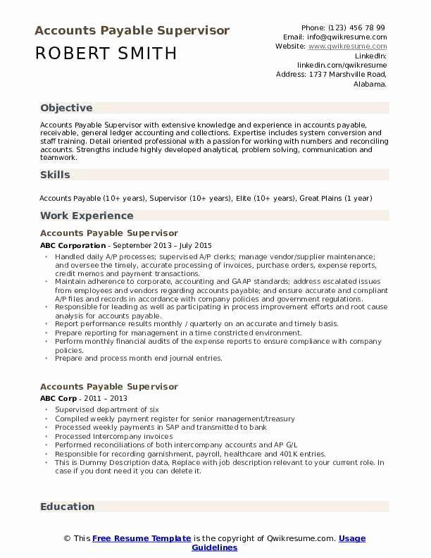 Accounts Payable Job Description Resume Inspirational Accounts Payable Supervisor Resume Sampl In 2020 Resume Photographer Job Description Resume Template Professional