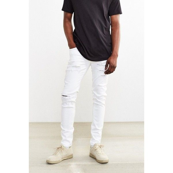 Dr. Denim White Ripped Snap Skinny Jean ($95) ❤ liked on Polyvore featuring men's fashion, men's clothing, men's jeans, mens white skinny jeans, mens super skinny stretch jeans, mens white distressed jeans, mens ripped jeans and mens super skinny jeans