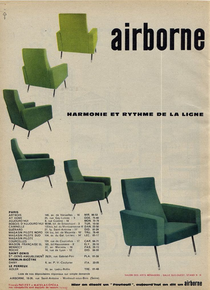 """French """"Airborne"""" Chair Ad from 60s via Millie Motts: home #60s ..."""