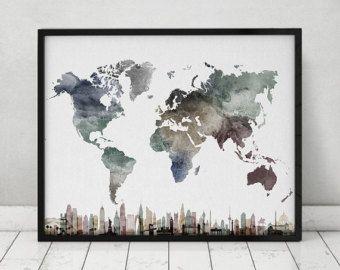 Reizen kaart met steden kunst aan de muur Poster door ArtPrintsVicky