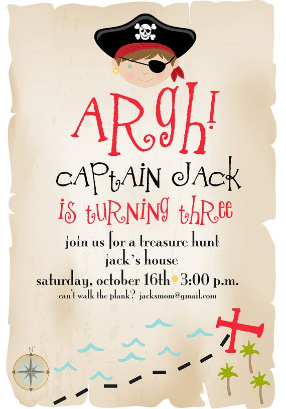 Pirate Birthday Invitation : Treasure Hunt Birthday Invitation by pisforpartypapers on etsy good wording