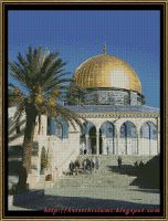 Dome of the rock, free cross sticth pattern available in 2 versions:  24 and 17 color DMC floss