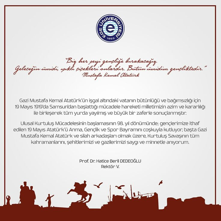 19 Mayıs Atatürk'ü Anma, Gençlik ve Spor Bayramımız Kutlu Olsun..