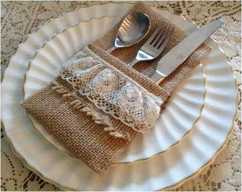 Burlap Silverware Holders by TheRusticChicBtqe on Etsy, $2.49