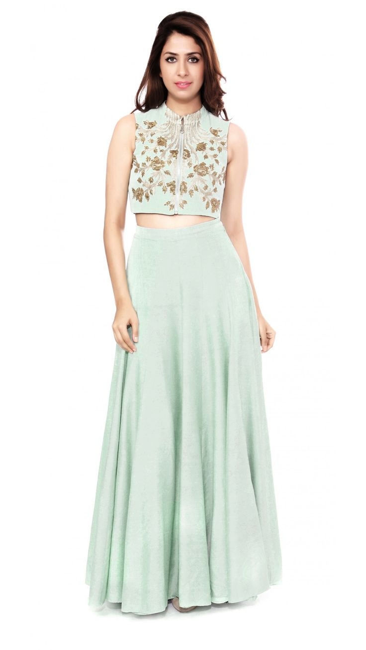 Mint Green Embroidered Crop Top with Lehenga