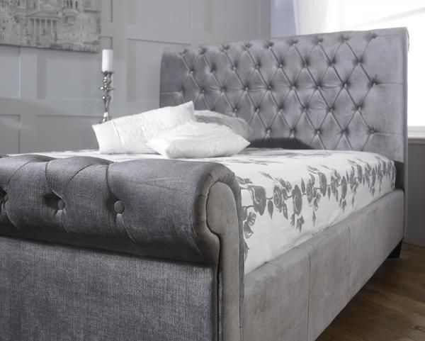 ... Orbit Velvet Sleigh Bed - Available in Mink, Grey and Black