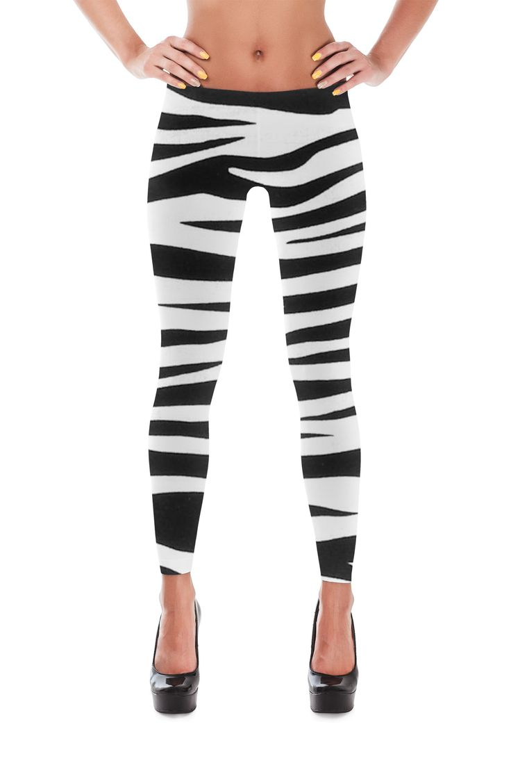 Awesome Zebra stripe print Leggings. Shiny, durable and hot. These polyester/spandex leggings will never lose their stretch and provide that support and comfort you love in unique designs. Made of pol                                                                                                                                                                                 More