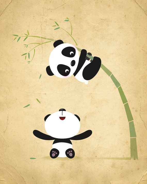 Panda nursery print kids illustration nursery by IreneGoughPrints