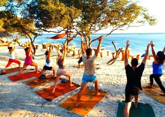 Yoga on the beach or hillside yoga center with The Yoga Place Gili Islands