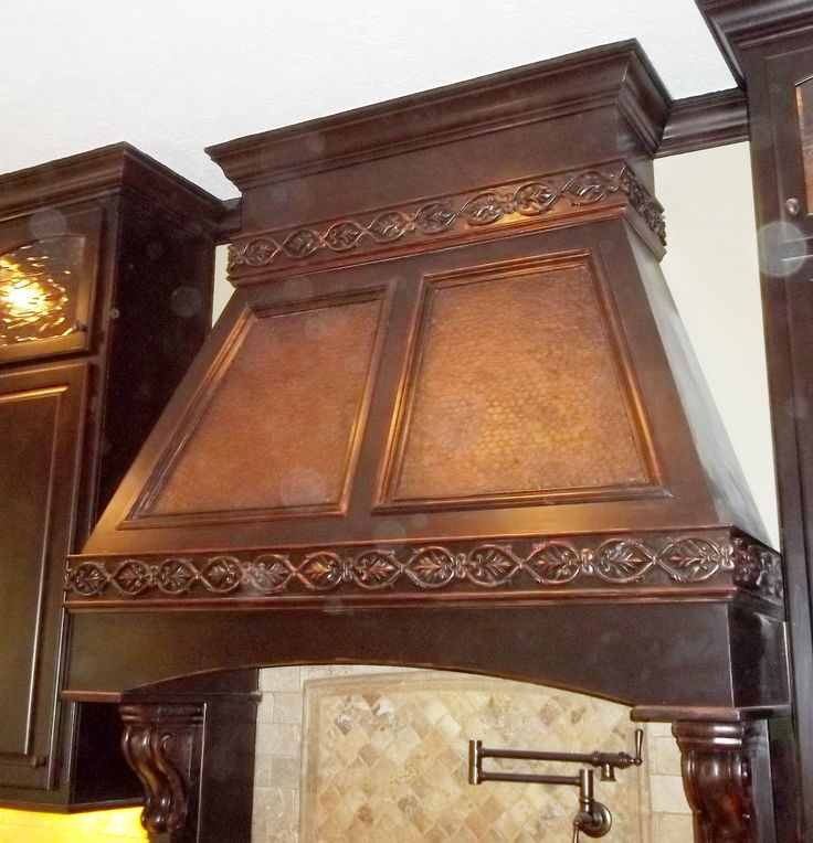 faux finished copper wood vent hood kitchen