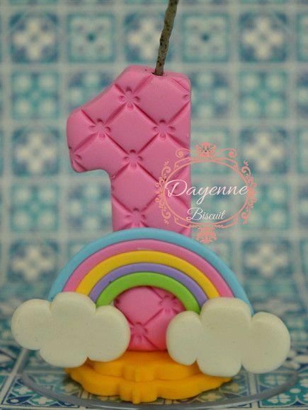 Vela de Biscuit no tema chuva de Amor