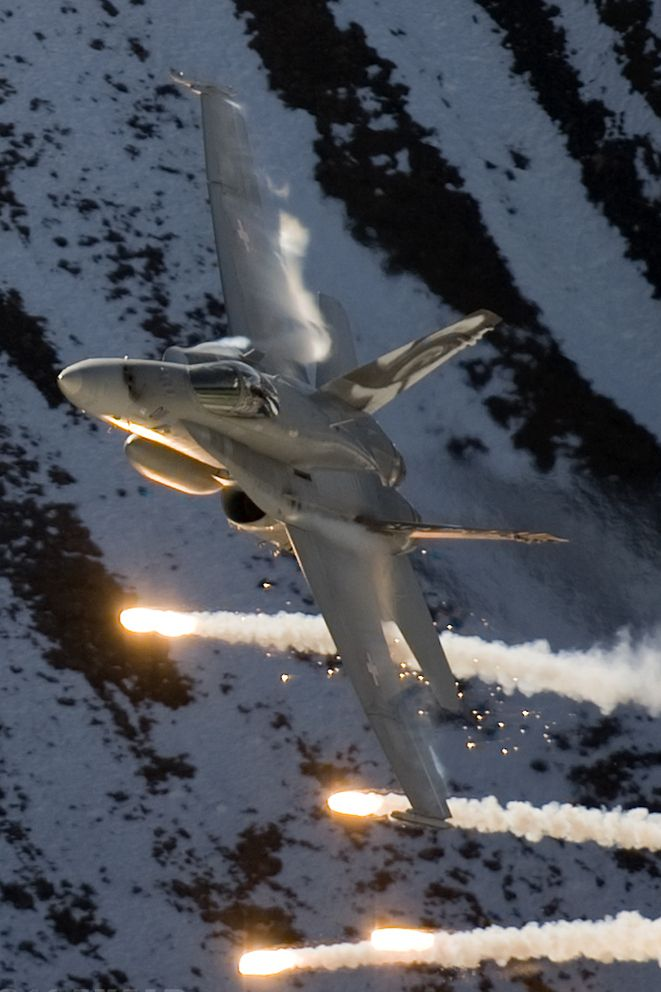 A Swiss Air Force F/A-18 Hornet at Axalp (BE) Air Show