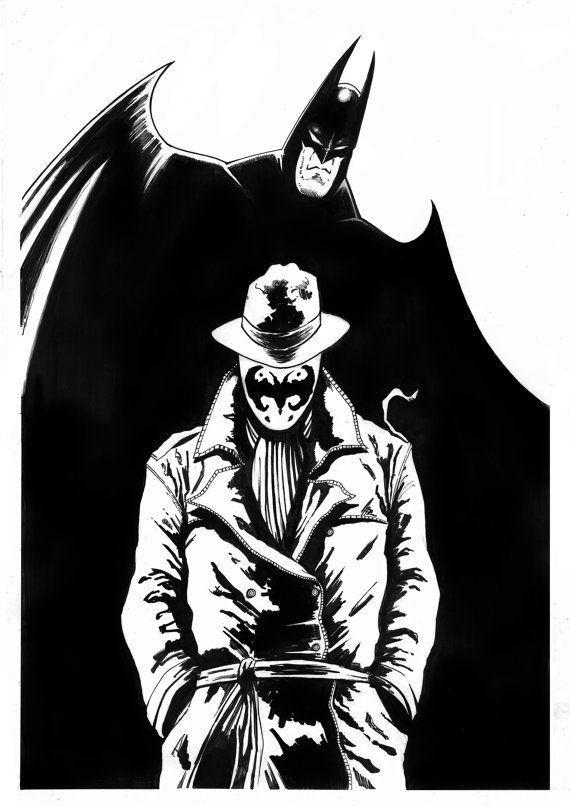 Hey, I found this really awesome Etsy listing at https://www.etsy.com/uk/listing/473090641/rorchach-and-batman-inked-a3-original