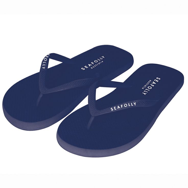 Seafolly Flip Flops in Indigo.  #seafolly #flipflops #navy #beachshoes #rubbershoes