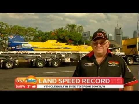 The 800 km/h man... AE Smith's Trevor Slaughter interviewed on the Weekend Today show about his attempt to break the world land speed record for a wheel driven car in a vehicle he's designed and constructed himself in his very own backyard.