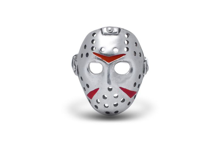 Serial killer, Killer ring, Horror movies, Horror mask,  Horror movie / Solid Sterling Silver (Silver 925), enamel by AlexFoxJewelryStudio on Etsy https://www.etsy.com/listing/465611869/serial-killer-killer-ring-horror-movies