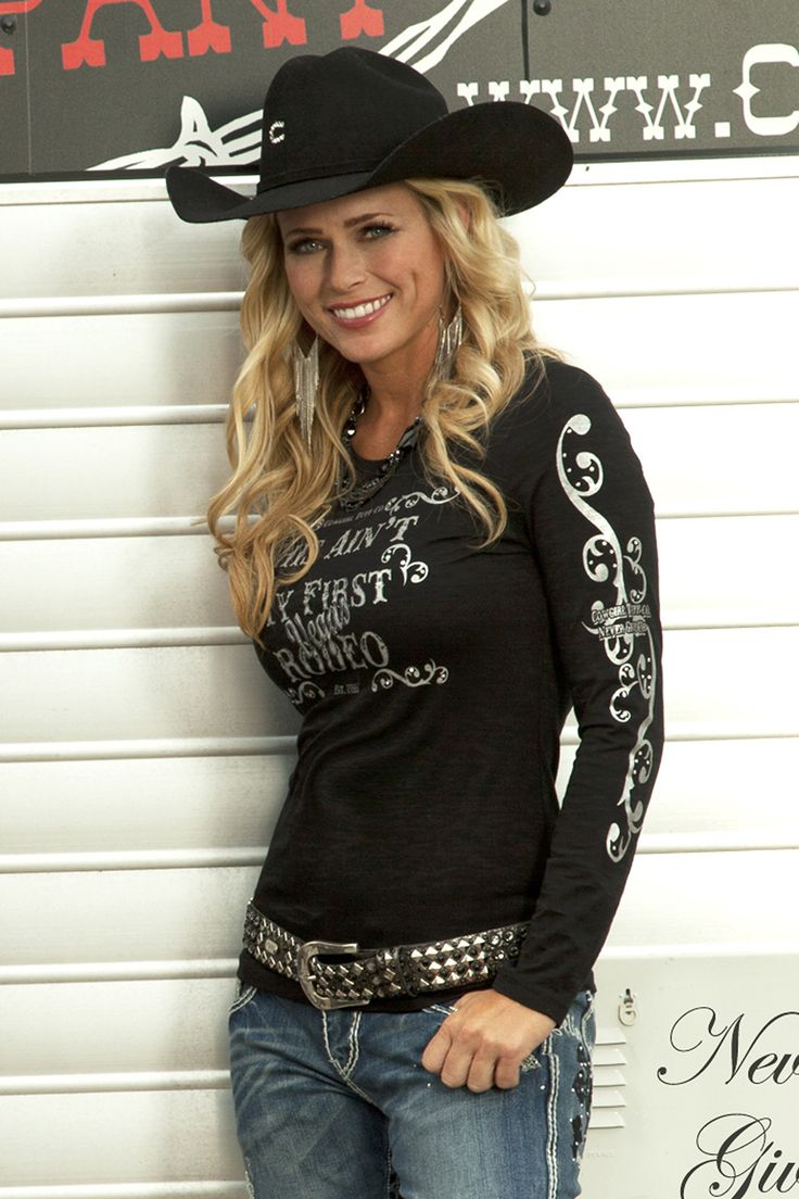 Cowgirl Tuff Womens Black Cotton Blend L/S T-Shirt Crystals Burnout Rodeo