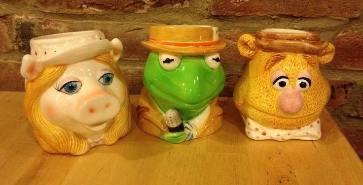 Miss Piggy Kermit Frog Fozzie Bear Coffee Tea Mug Muppets 1981 Sigma Henson 3D