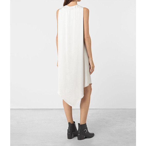 AllSaints Blaze Dress ($308) ❤ liked on Polyvore featuring dresses, storm grey, allsaints, allsaints dress, grey dress and gray dress