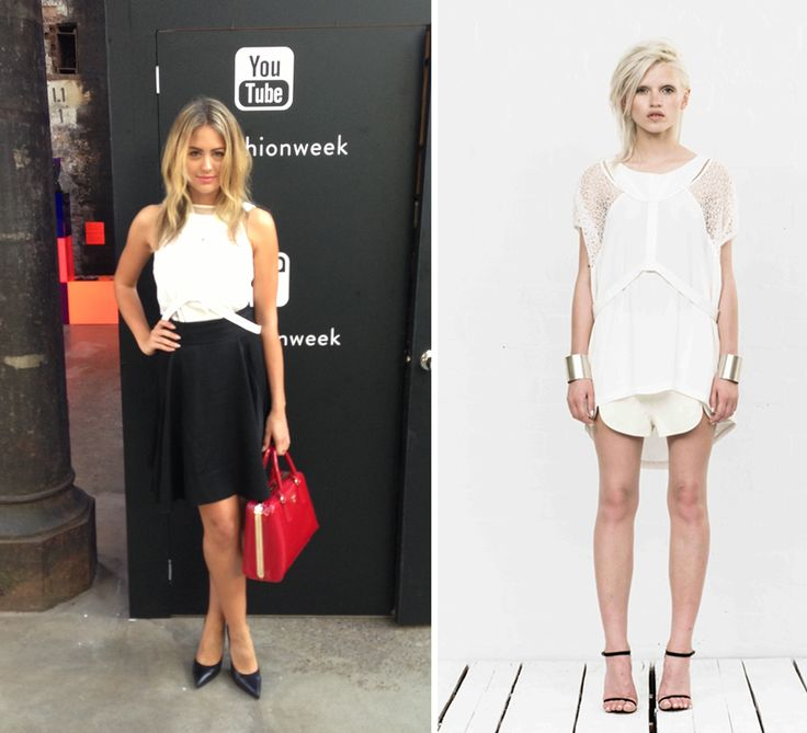 Jesinta Campbell looks so chic in the Natural Tee at MBFWA